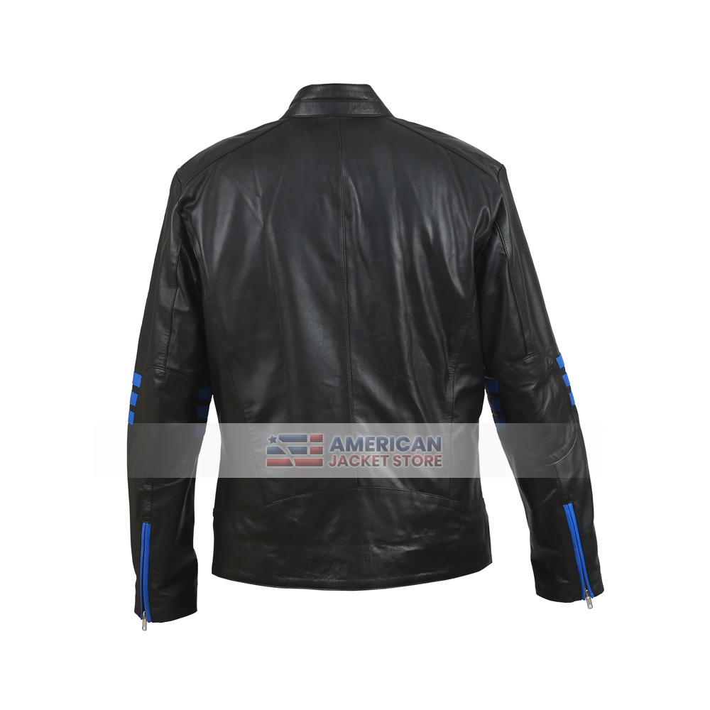 7f41e63df Rangers Brando Black and Blue Motorcycle Leather Jacket